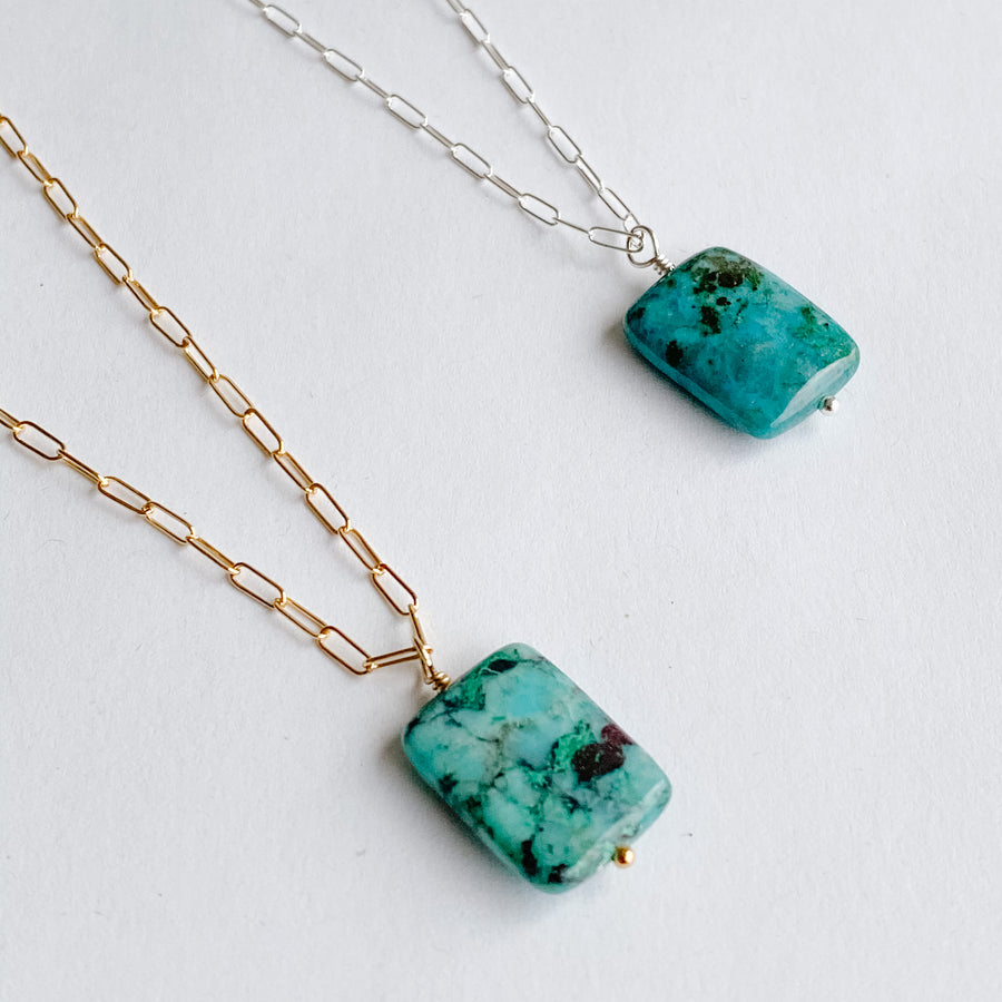 Chrysocolla Talisman Necklace - Salt + Sage