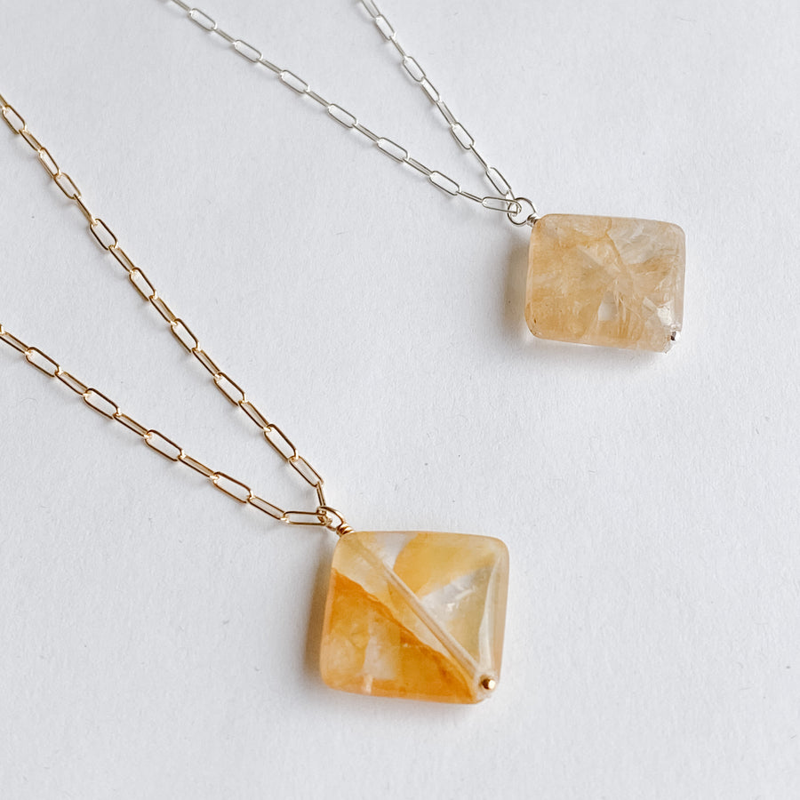 Citrine Diamond Talisman Necklace - Salt + Sage