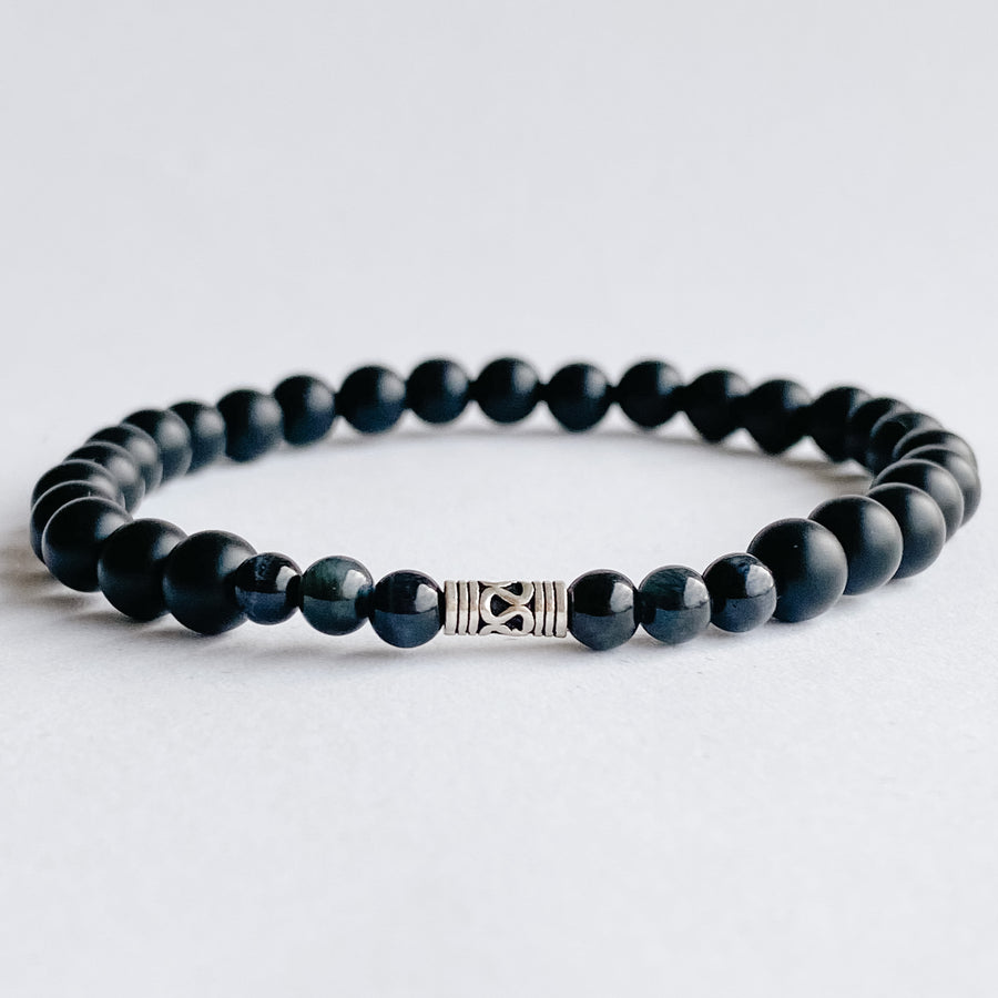 Black Onyx 6mm Mens Bracelet - Salt + Sage