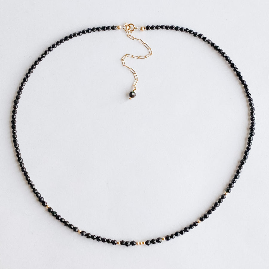 Black Spinel Layering Necklace - Salt + Sage