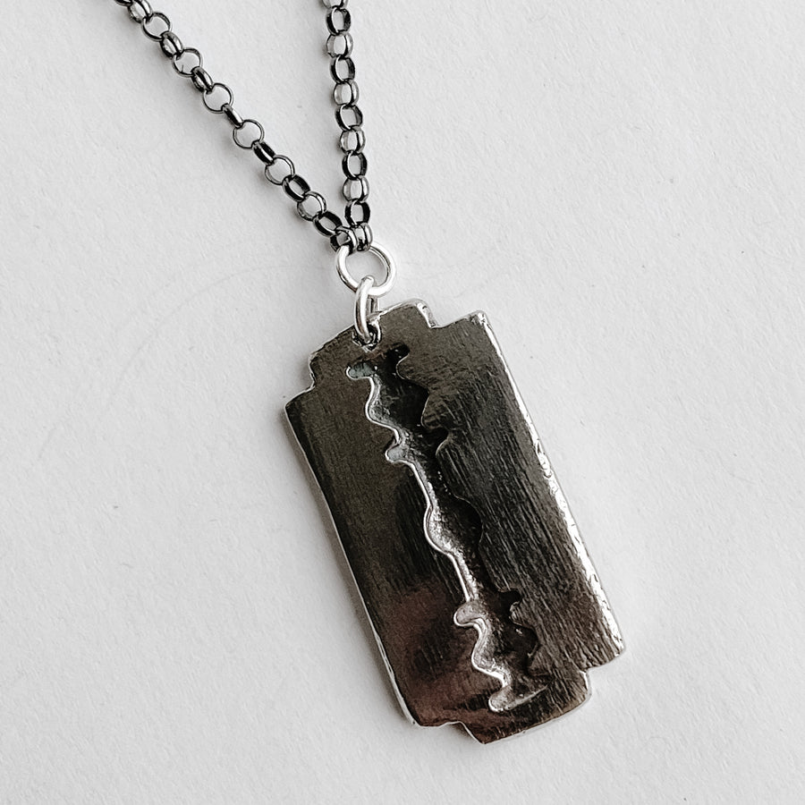 Razor Mens Talisman Necklace - Salt + Sage
