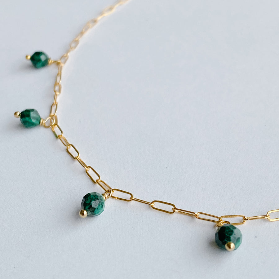Malachite Drop Necklace - Salt + Sage