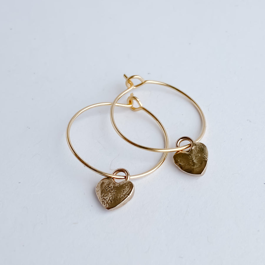 Mini Heart Hoops - Salt + Sage