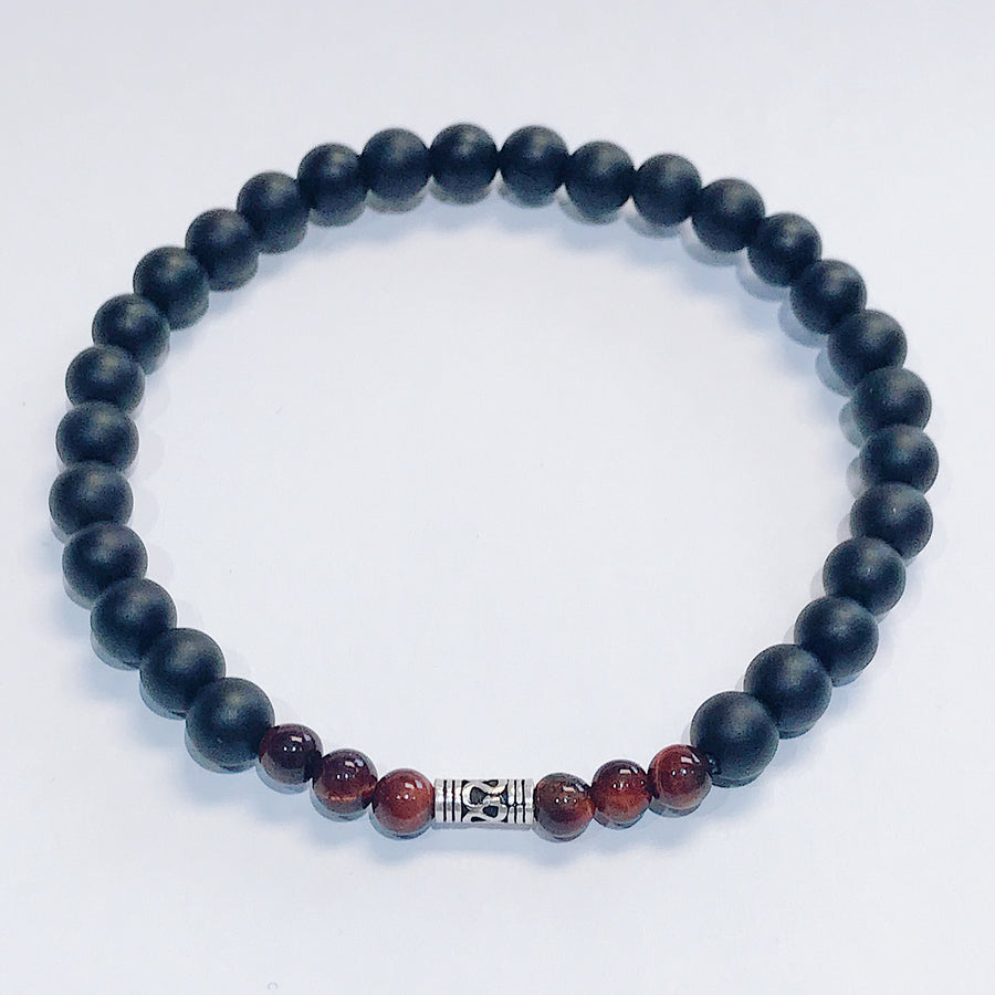 Black Onyx + Red Tigers Eye Mens Bracelet - Salt + Sage