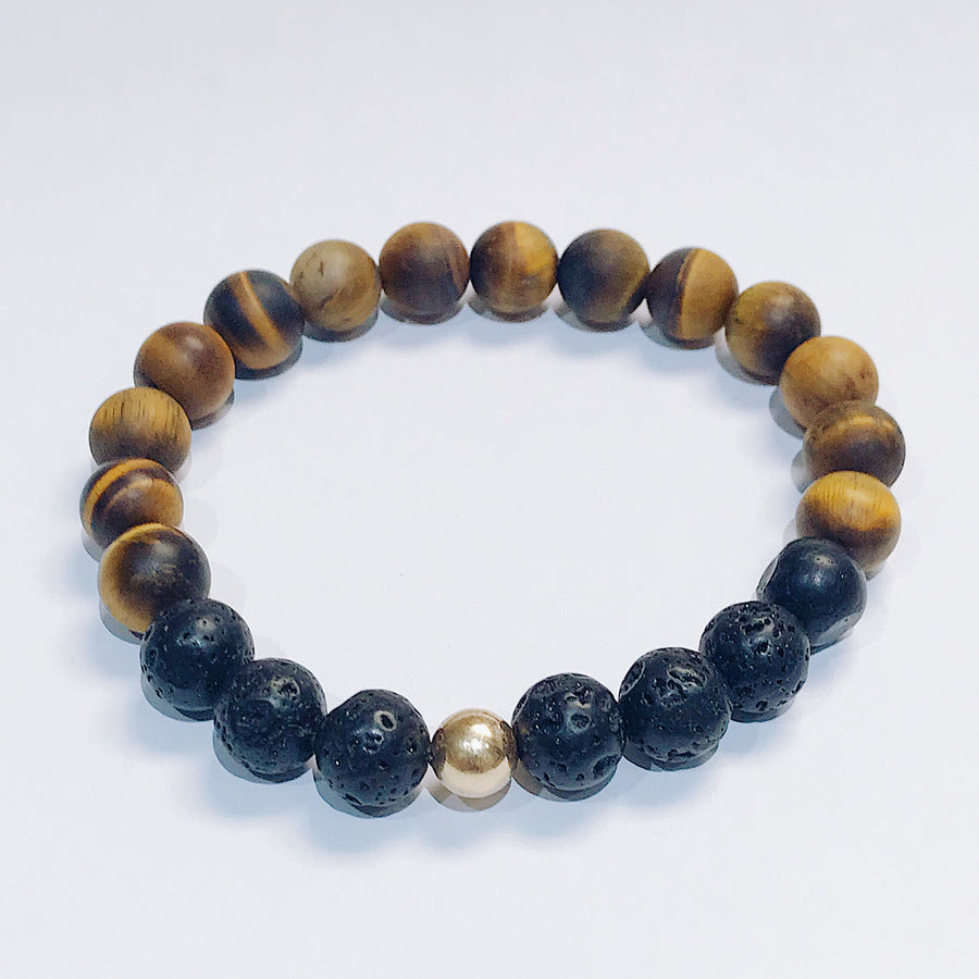 Tigers Eye + Lava Mens Bracelet - Salt + Sage