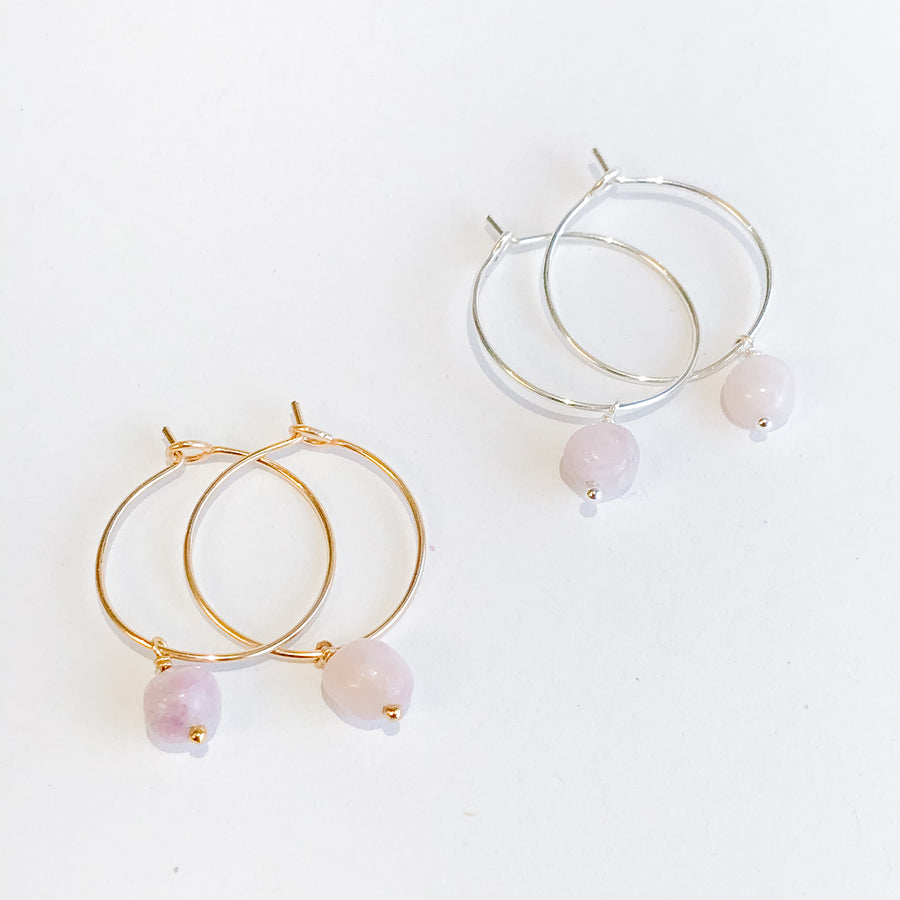 Kunzite Drop Hoops - Salt + Sage