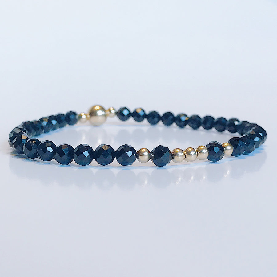 Black Spinel Illumination Bracelet - Salt + Sage