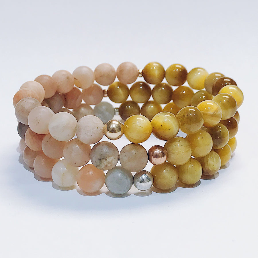 Gold Tigers Eye + Sunstone Duality Bracelet - Salt + Sage