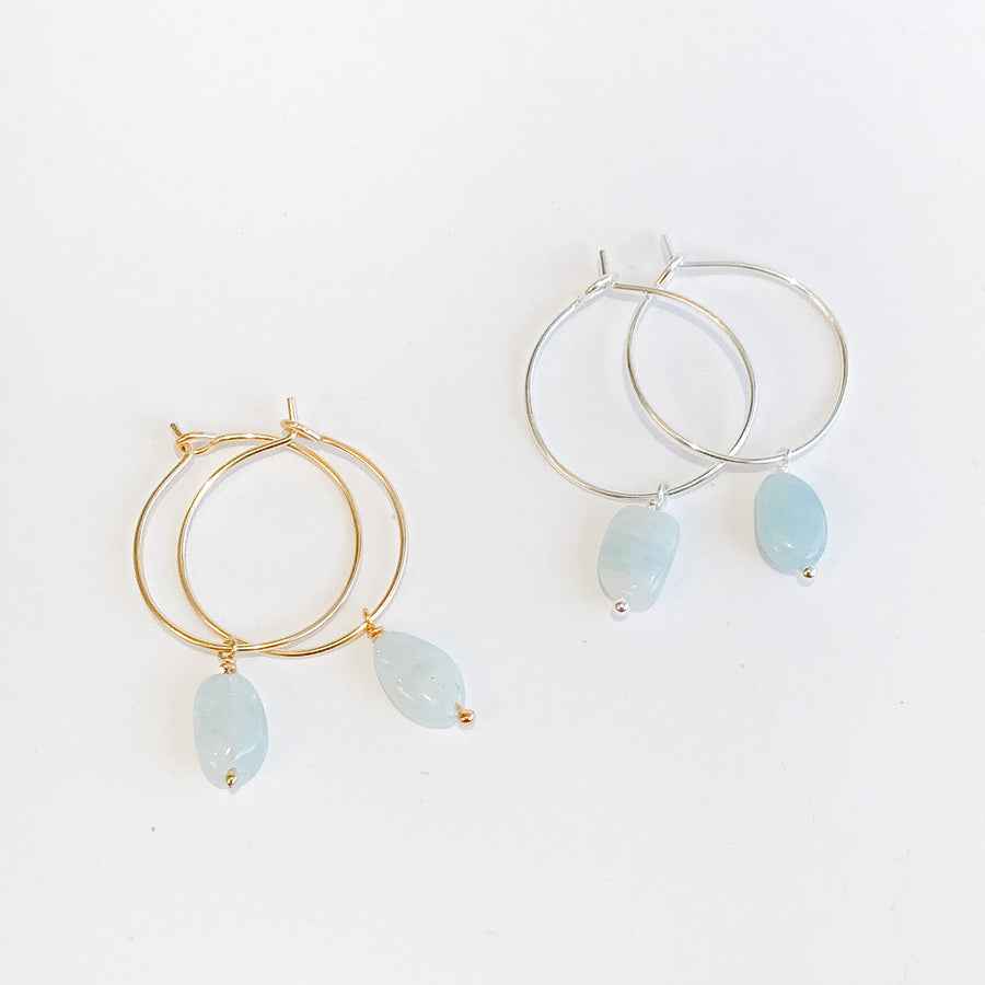 Aquamarine Drop Hoops - Salt + Sage