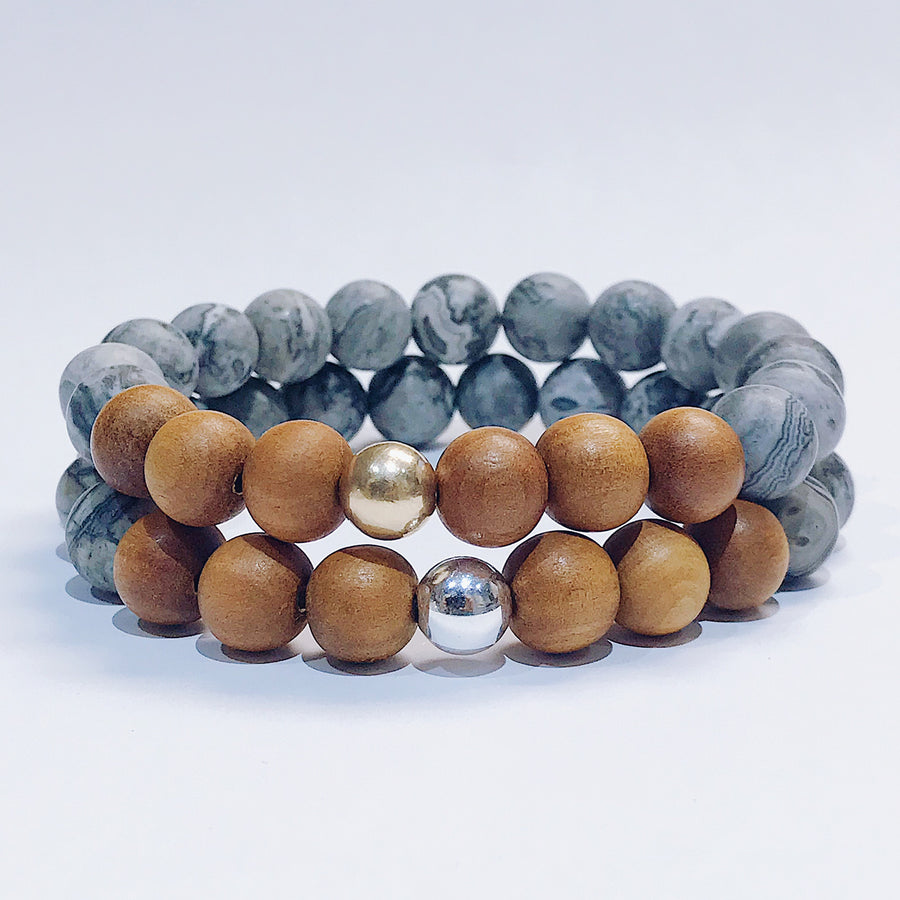 Grey Jasper + Sandalwood Mens Bracelet - Salt + Sage