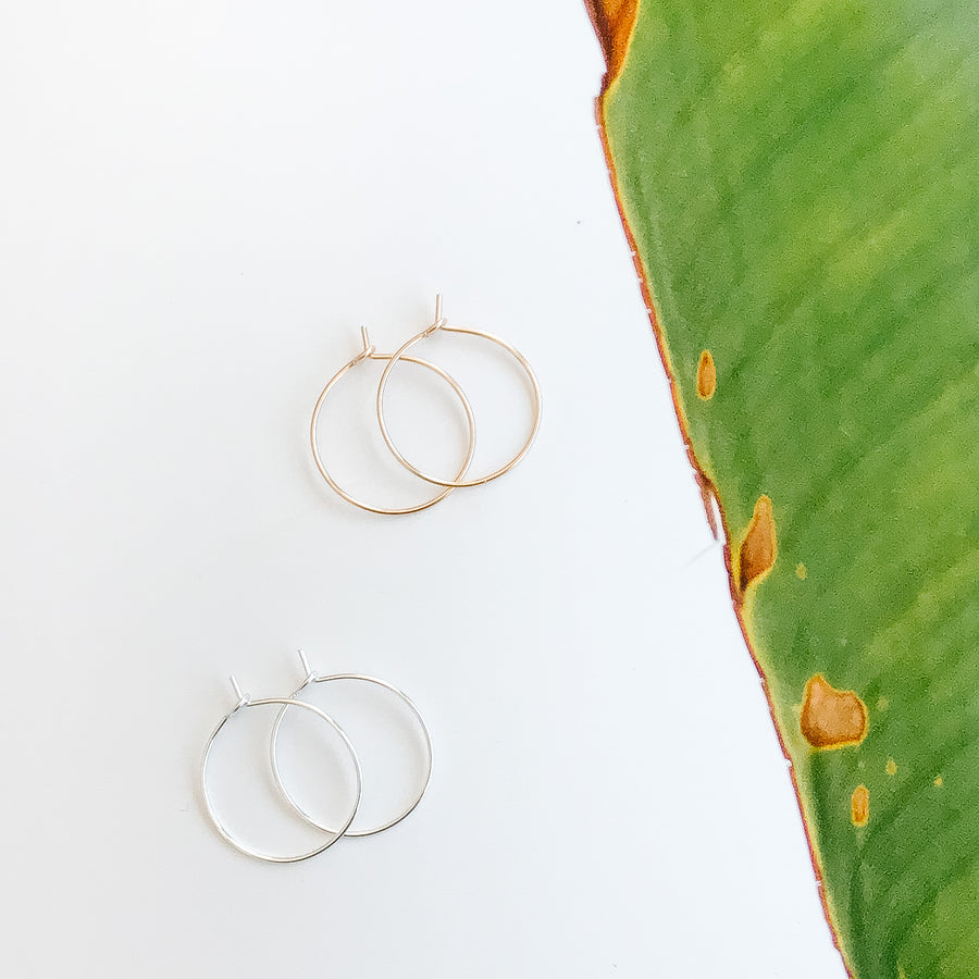 Minimal Hoop Earrings - Salt + Sage