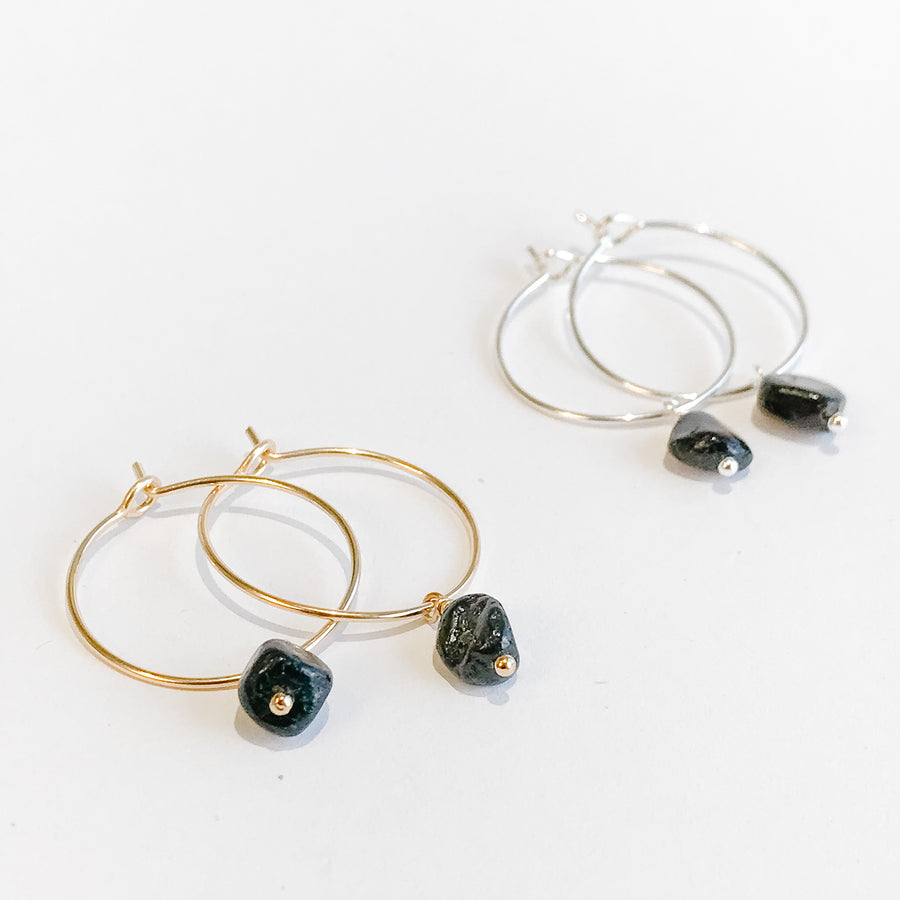 Black Tourmaline Drop Hoops - Salt + Sage