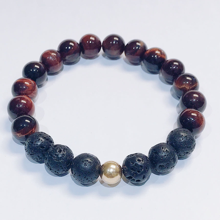 Red Tigers Eye + Lava Mens Bracelet - Salt + Sage
