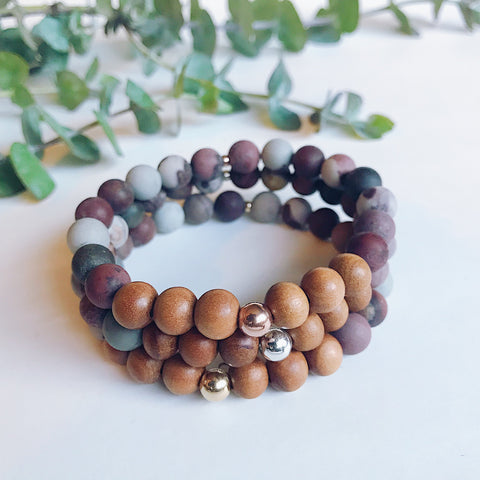 Strawberry Quartz + Sandalwood Mala Bracelet