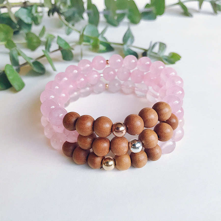 Rose Quartz + Sandalwood Mala Bracelet - Salt + Sage