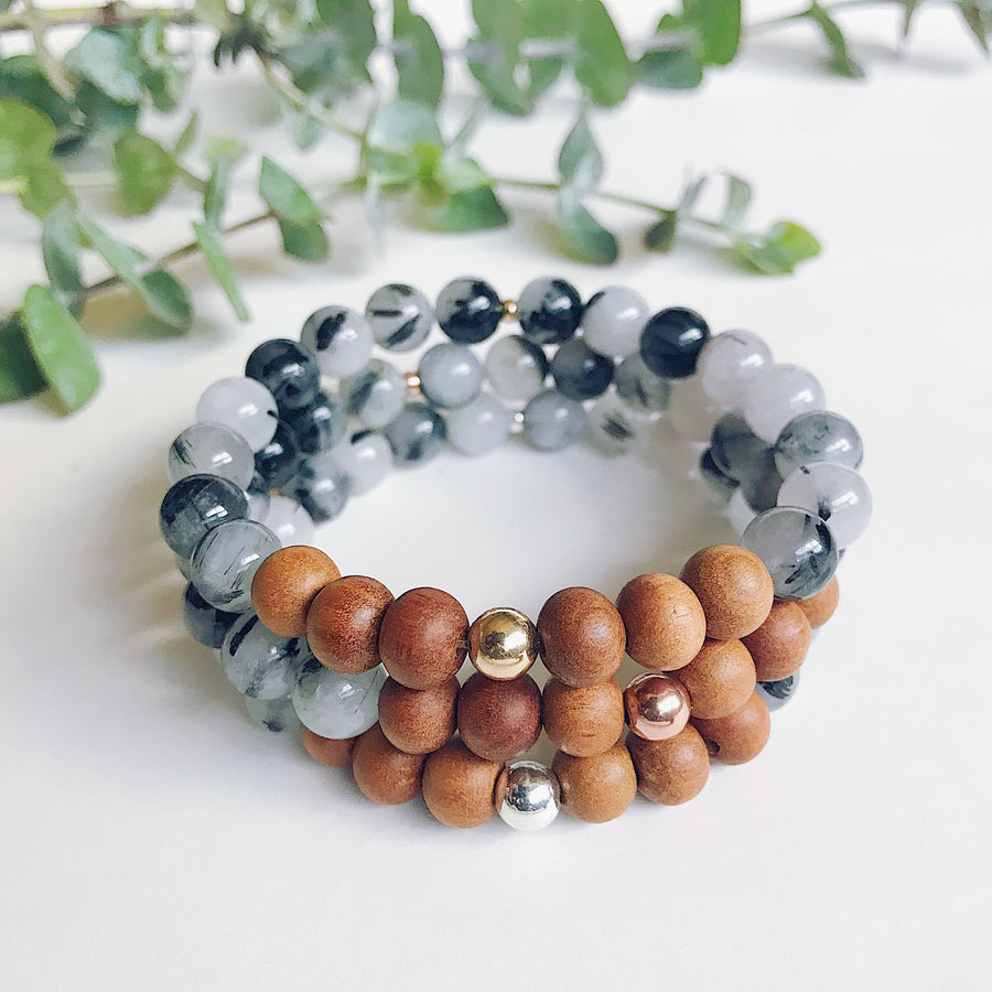 Tourmalinated Quartz + Sandalwood Mala Bracelet - Salt + Sage