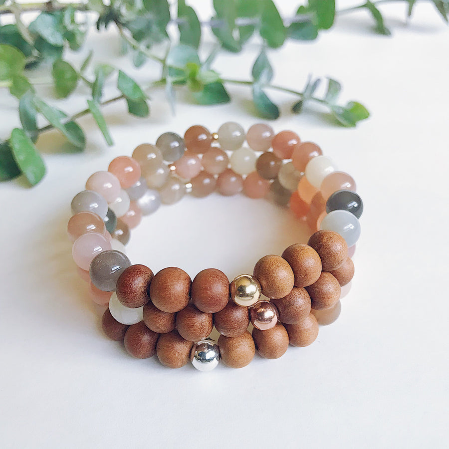 Mixed Moonstone + Sandalwood Bracelet - Salt + Sage