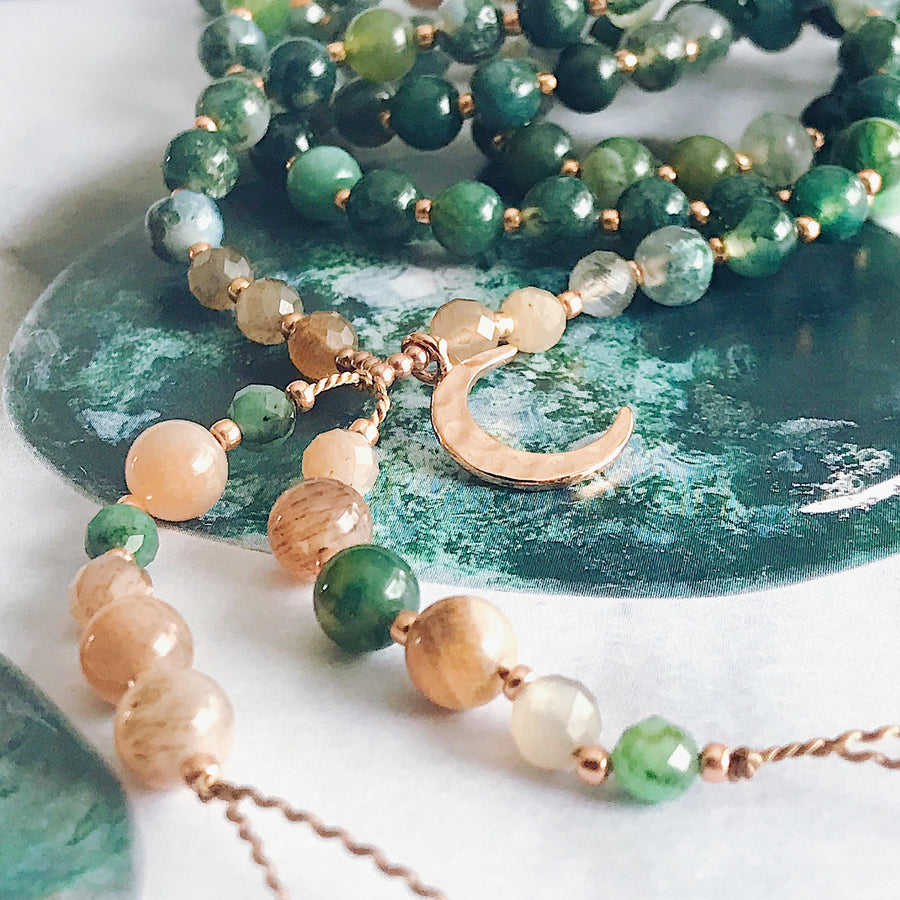 Moss Agate, Moonstone + Emerald Mala Necklace - Salt + Sage