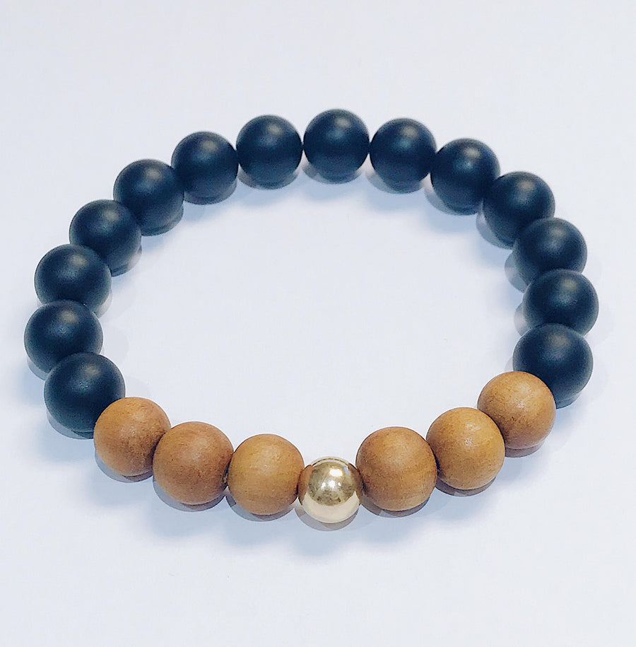 Black Onyx + Sandalwood Mens Bracelet - Salt + Sage
