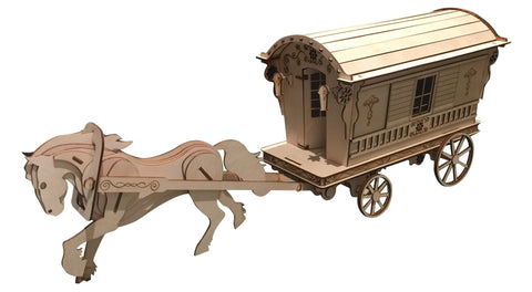 Reading Gypsy Wagon W/ Horse Model Kit - BirdsWoodShack
