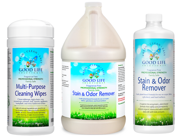 Good Life Cleaning Wipes, Stain & Odor Remover 32oz + 1 Gallon Bundle