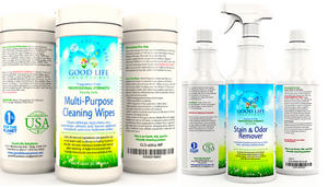 Good Life All Natural Surface Cleaner Wipes and 32oz Plant-Based Stain and Odor Remover Bundle.
