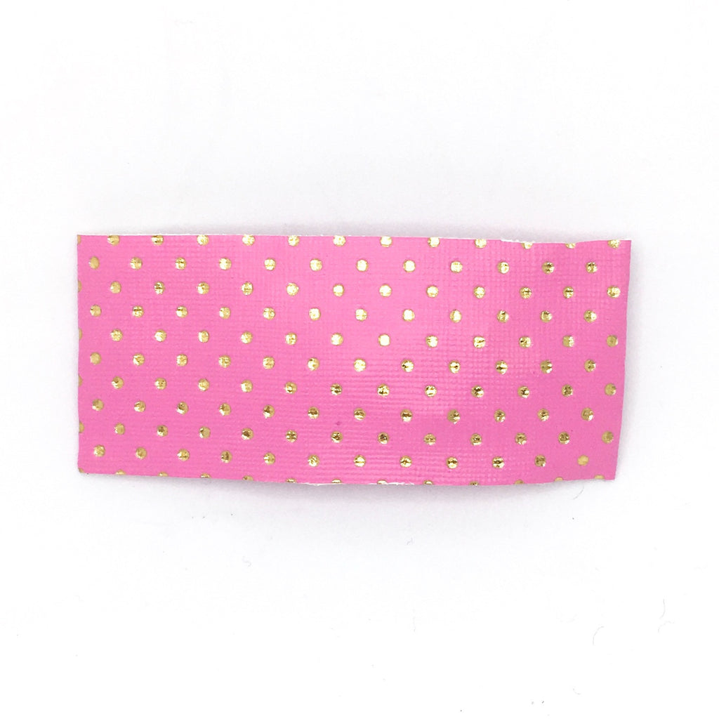 Pink & Gold Dot Vegan Leather Single Snap Clip