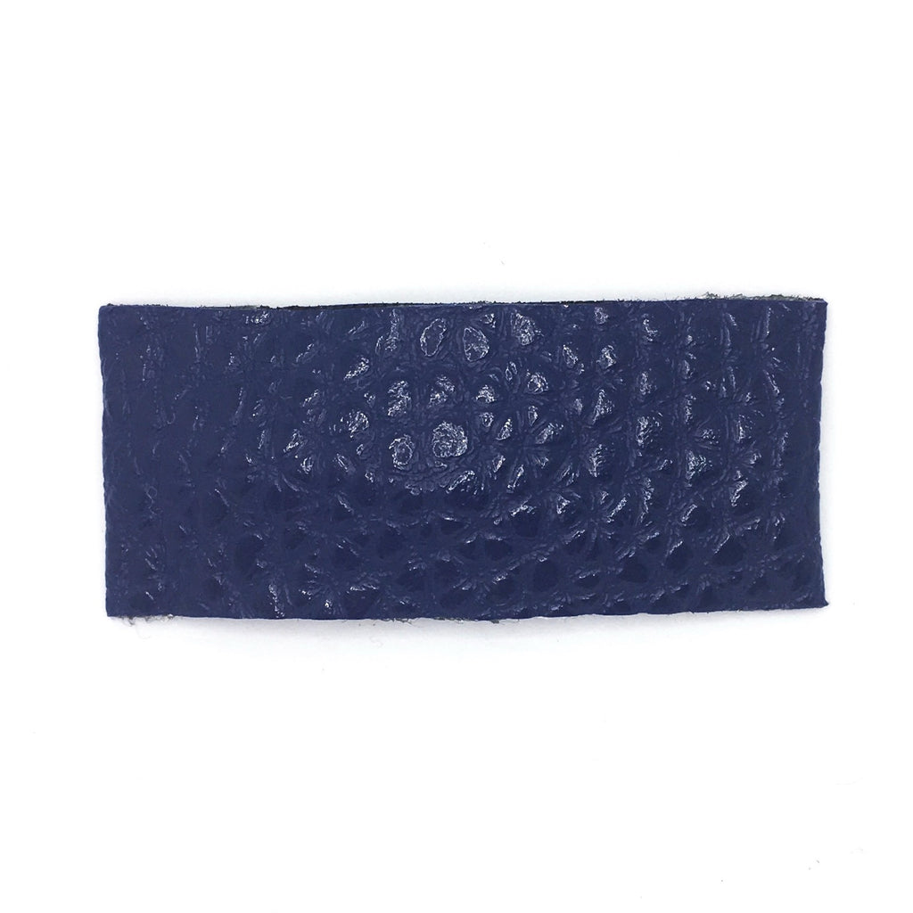 Navy Vegan Leather Single Snap Clip