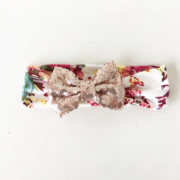 Champagne Floral Sequin Bow Headband