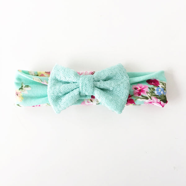 Aqua Floral Sequin Bow Headband
