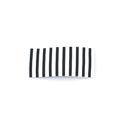 Black and White Stripe Vegan Leather Single Snap Clip