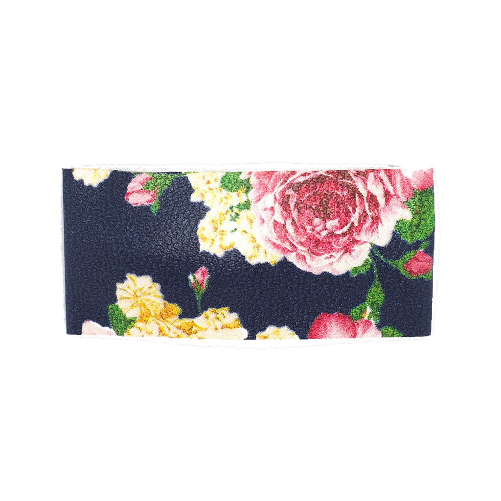 Navy Floral Vegan Leather Single Snap Clip