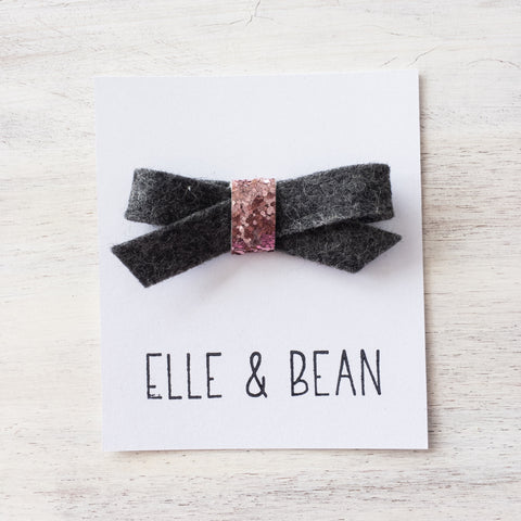 Charcoal & Pink Lilly Bow