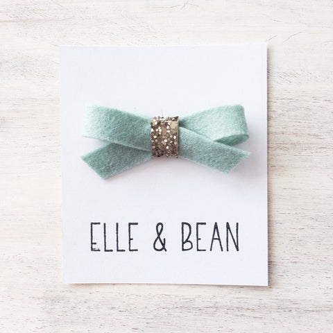 Aqua Mist & Gray Lilly Bow