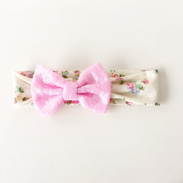 Baby Pink Floral Sequin Bow Headband