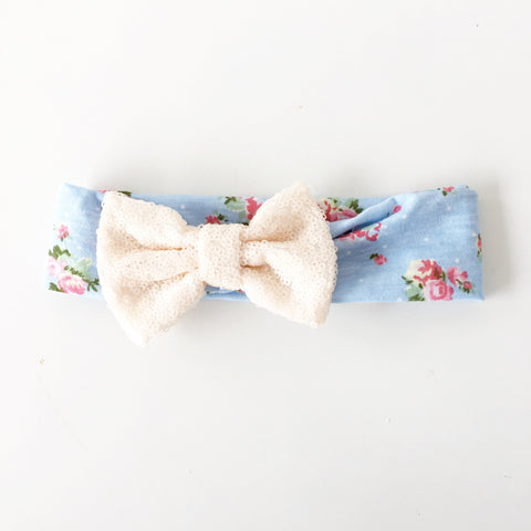 Robins Egg Floral Sequin Bow Headband