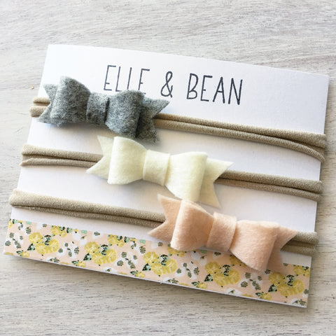 Classic Mini Felt Bow Headband Collection