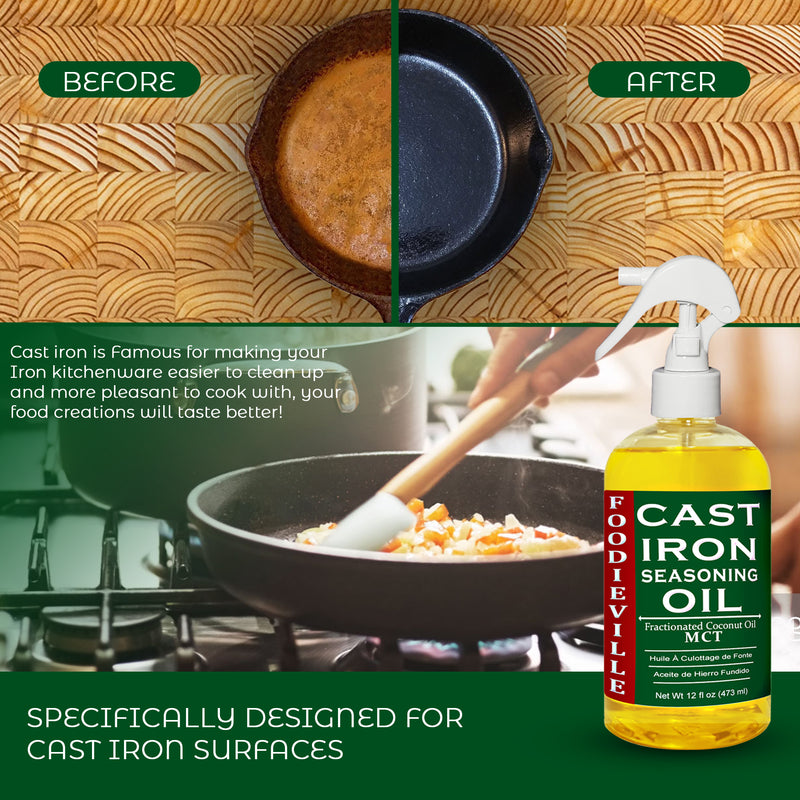 Cast Iron Oil by Foodieville for Seasoning Cast Iron Cookware