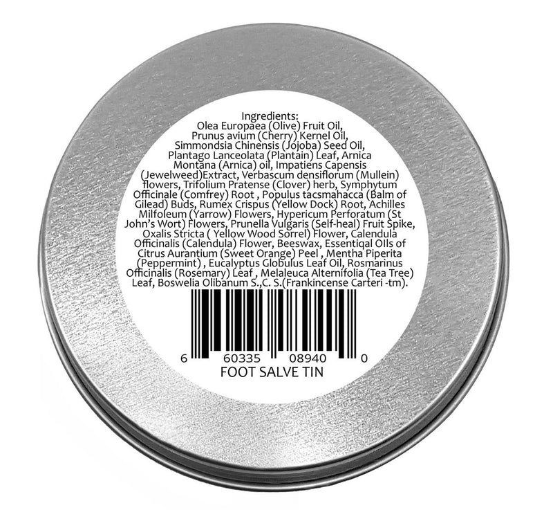 Best Foot Care Herbal Salve Large 4 oz Tin of Botanical Foot Balm Mejor cuidado de los pies - Creation Pharm