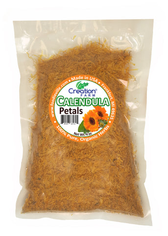 Calendula Flower Petals Dried Herb - Bulk 4 oz Herbal Tea | DIY Skin Care | Make Calendula Oil - Creation Pharm