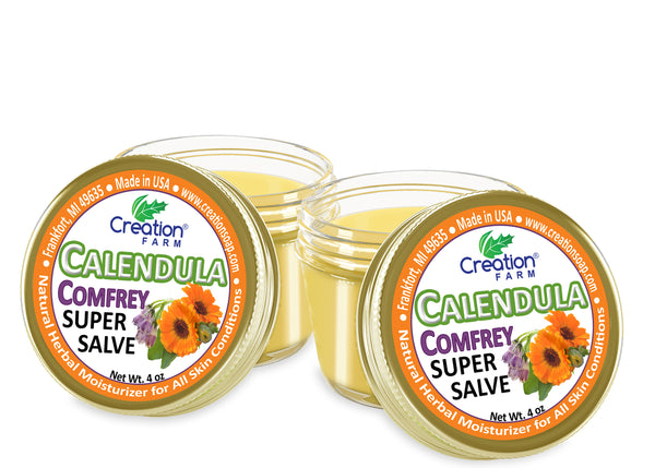 Calendula Confrrey Super Salve  2-4 oz Jars Soothes Baby Bottoms, Eczema, Hand Cream Balm for Dry Cracked skin, Tattoos and Beards - Creation Pharm