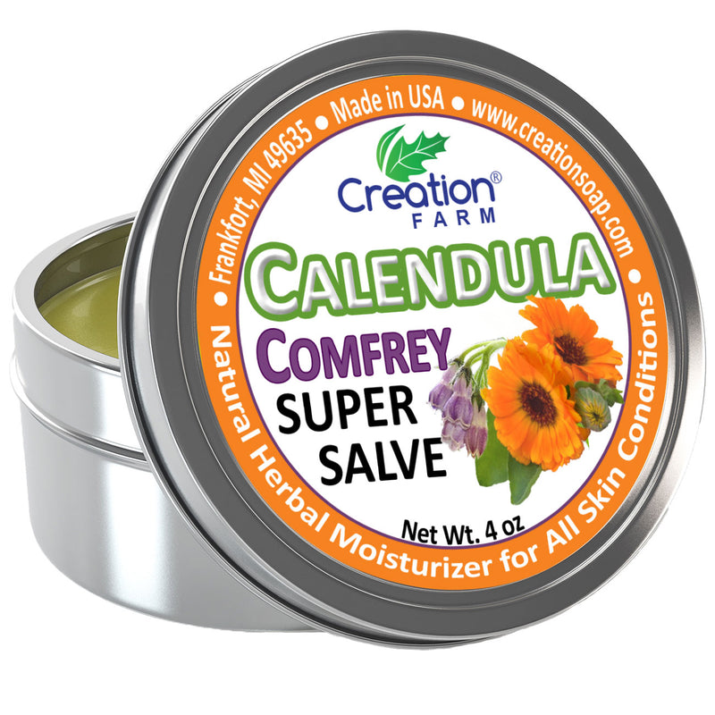 Calendula-Comfrey Salve - Super Salve - Large 4 oz Tin, Super Salve, Herbal Salve - Creation Pharm