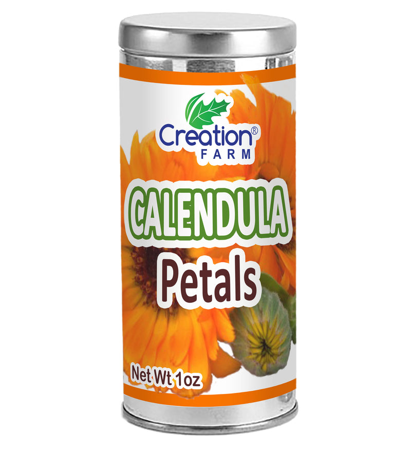 Calendula Flower Petals Dried Herb Tisane 1 oz - Bulk, Cleaned, Convenient Tea Tin Storage Canister - Creation Pharm