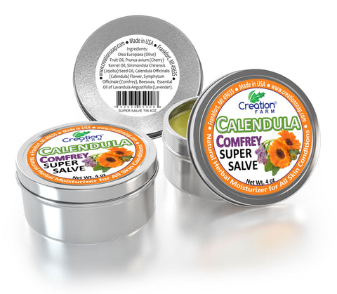 Calendula-Comfrey Super Salve - 3 Pack Large 4 oz Tins - Calndula Consuelda from Creation Farm - Creation Pharm