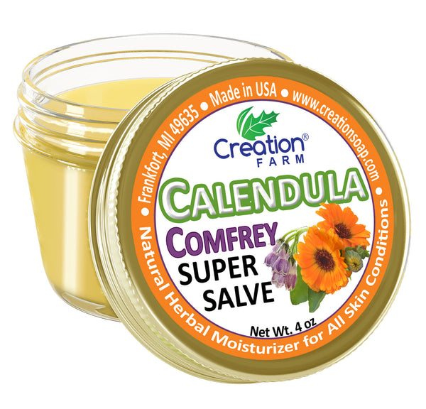 CALENDULA-COMFREY SUPER SALVE JAR 4 OZ - HERBAL SALVE FROM CREATION FARM
