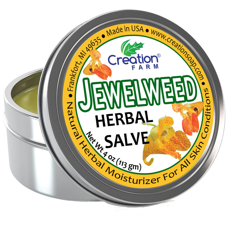 Jewelweed Herbal Salve Tin 4 oz - poison ivy summer skin comfort itchy sting - Creation Pharm