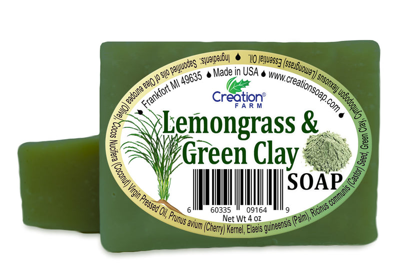 Lemongrass & Green Clay Soap - Two 4 oz Bar Pack by Creation Farm - Creation Pharm