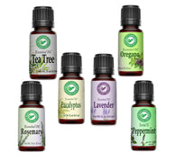 Homestead Essential Oil Set - 1 of Each - Lavender, Oregano, Tea Tree, Rosemary, Peppermint, and Eucalyptus - Creation Pharm