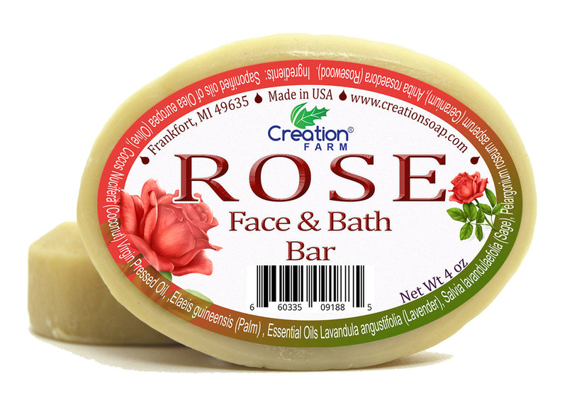 Rose Face & Bath Soap - Two 4 oz Bar Pack by Creation Farm - Creation Pharm