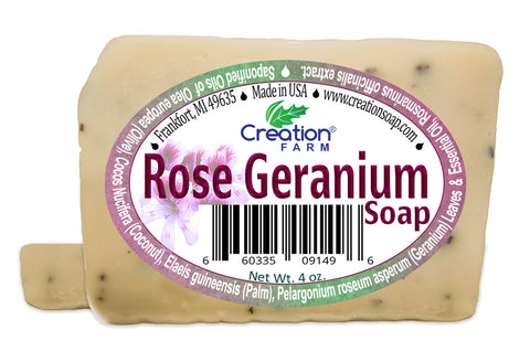 Rose Geranium Soap - Two 4 oz Bar Pack by Creation Farm - Creation Pharm